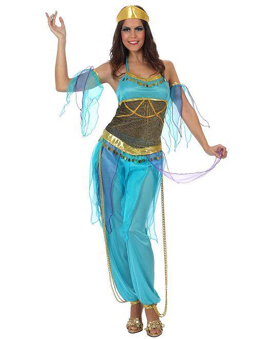 Déguisement de danseuse orientale                             bleu