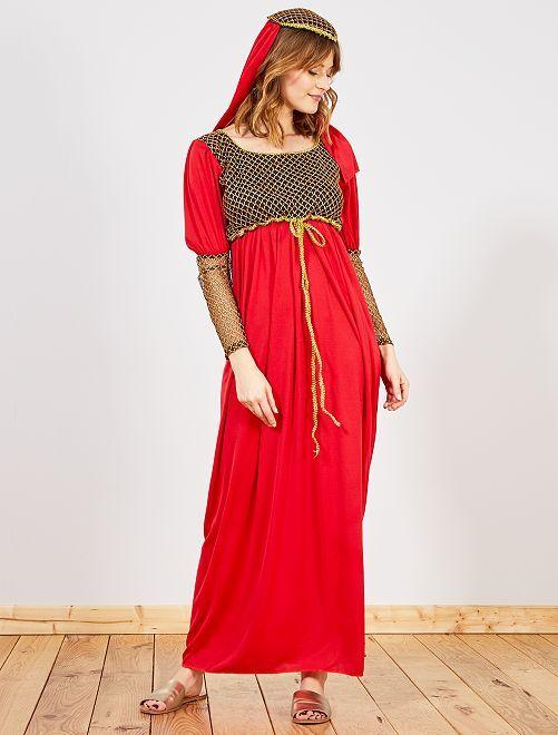Déguisement de femme médiévale                             rouge/or