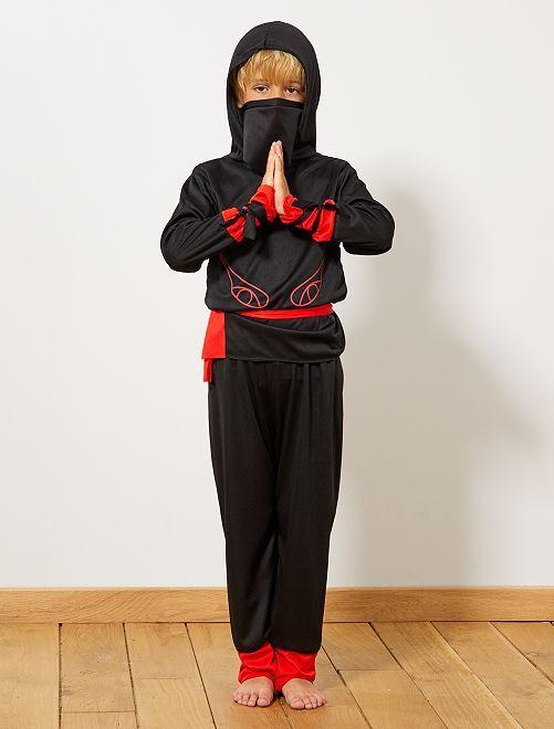 Déguisement de guerrier ninja                              noir/rouge