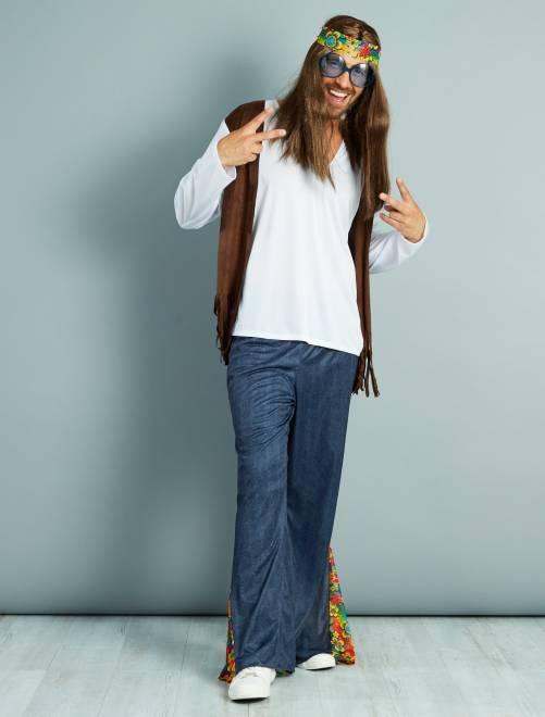 Déguisement de hippie                             blanc/bleu/marron