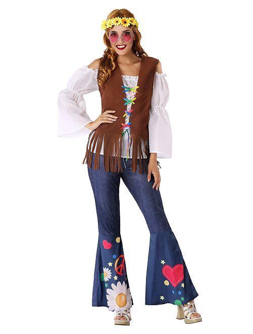 Déguisement de Hippie                             bleu/marron