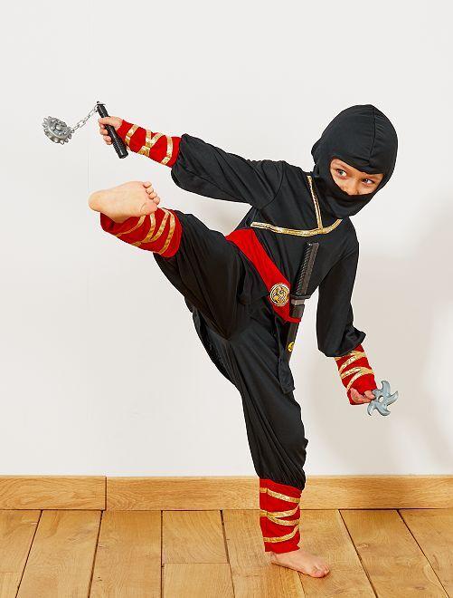 Déguisement de ninja + accessoires                             noir/rouge