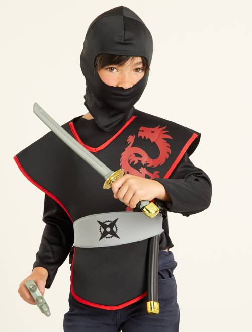 Déguisement de ninja                             noir/rouge
