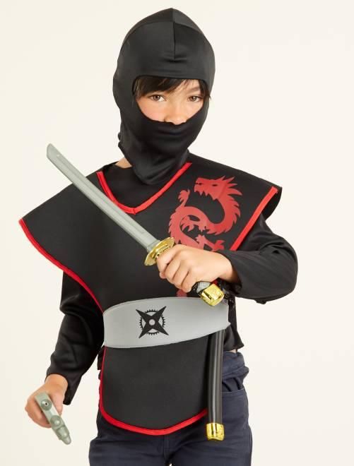 Déguisement de ninja                             noir/rouge Enfant