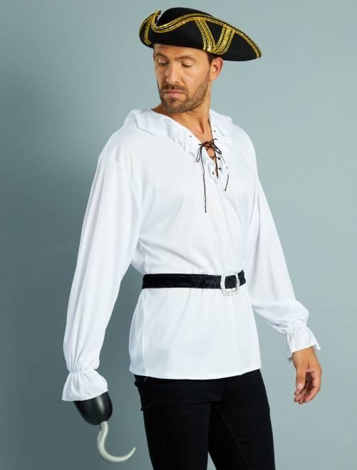Déguisement de pirate chemise + ceinture                             blanc/noir Homme