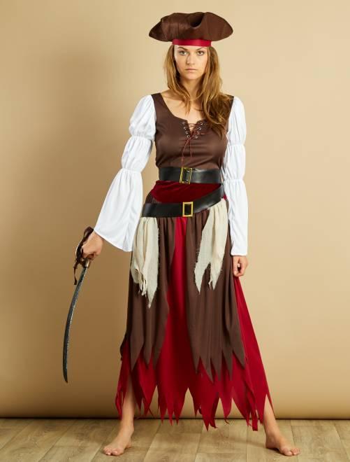 Déguisement de pirate                             marron/blanc/bordeaux