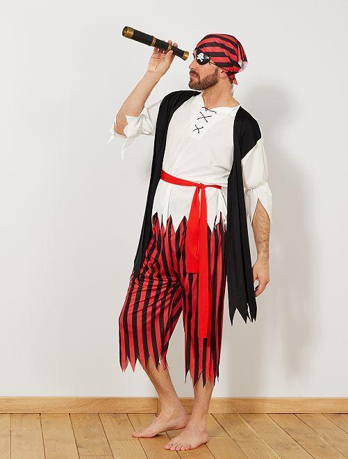 Déguisement de pirate                             noir/rouge Homme