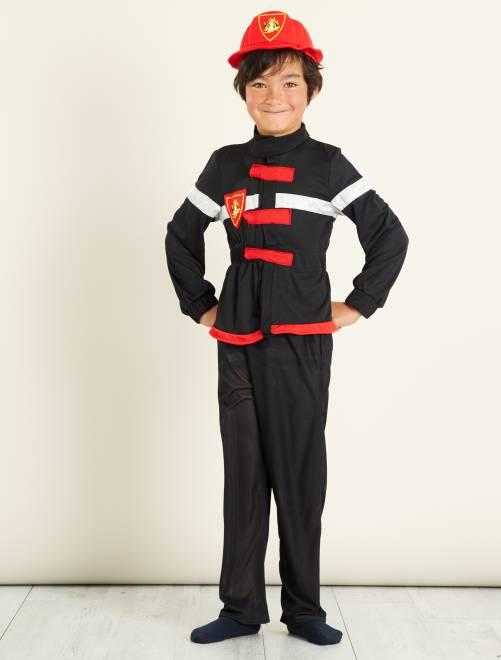 Déguisement de pompier                             noir/rouge Enfant