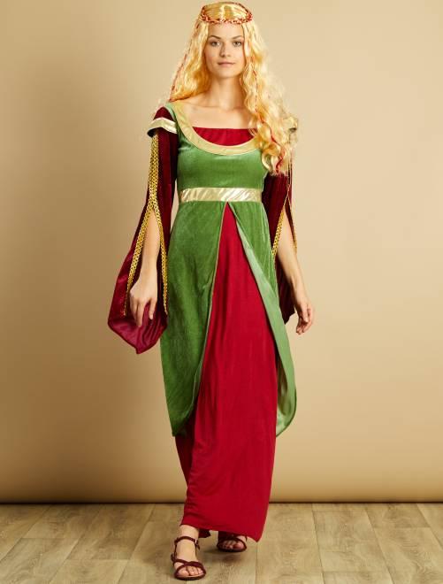 Déguisement de princesse médiévale                             bordeaux/vert