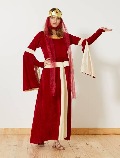 Déguisement de princesse médiévale                              rouge Femme
