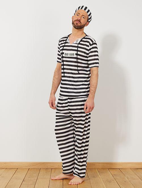 Déguisement de Prisonnier                             blanc/noir Homme
