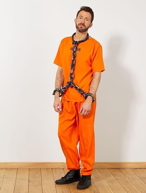 Déguisement de prisonnier US                             orange Homme
