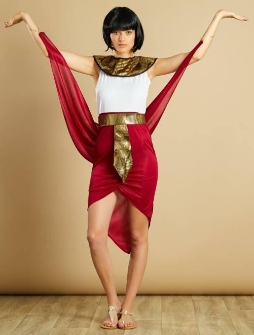 Déguisement de reine égyptienne                             rouge/blanc Femme