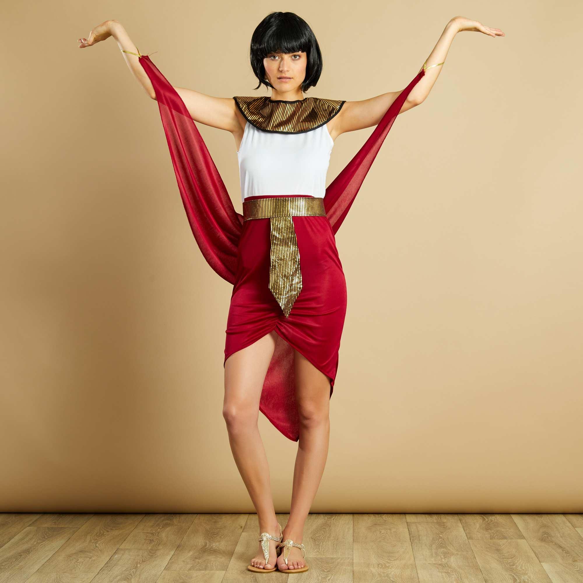 Déguisement de reine égyptienne rouge/blanc Femme - Kiabi