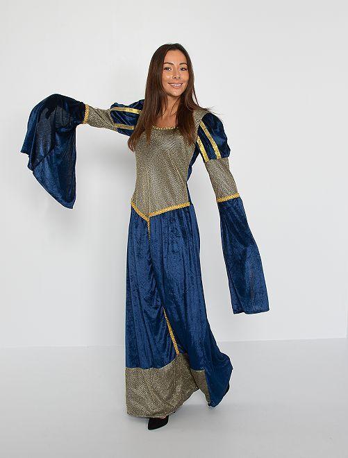 Déguisement de reine médiévale                             bleu
