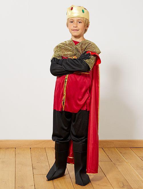 Déguisement de roi chevalier                             noir/rouge
