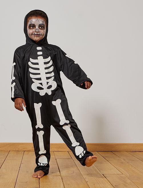 Déguisement de squelette phosphorescent                             noir/blanc