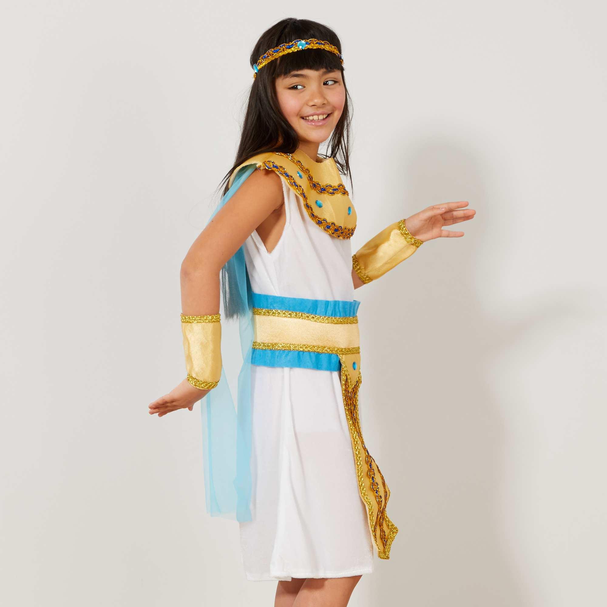 D guisement d 39 gyptienne enfant blanc bleu dor kiabi 22 00 - Deguisement princesse a faire soi meme ...