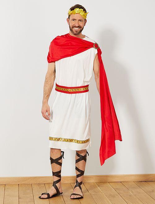 Déguisement d'empereur romain                             blanc/rouge/doré Homme
