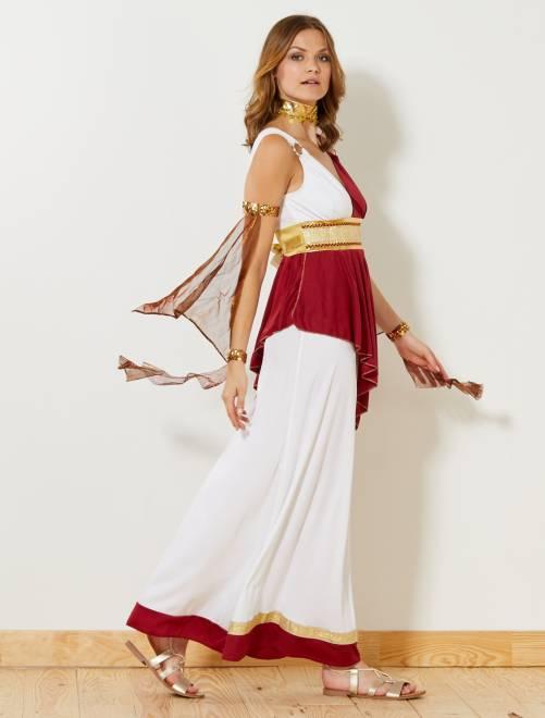 Déguisement d'impératrice romaine                             blanc/rouge/doré Femme