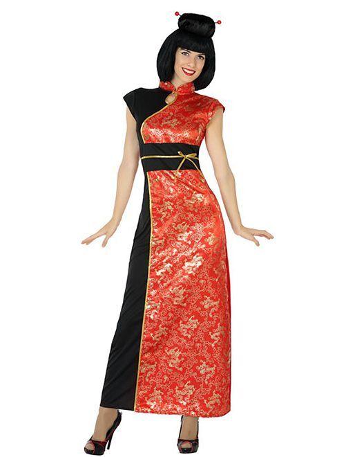Déguisement robe asiatique                             rouge/noir