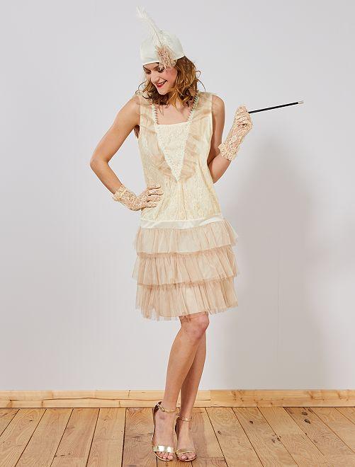 Déguisement robe charleston                             beige