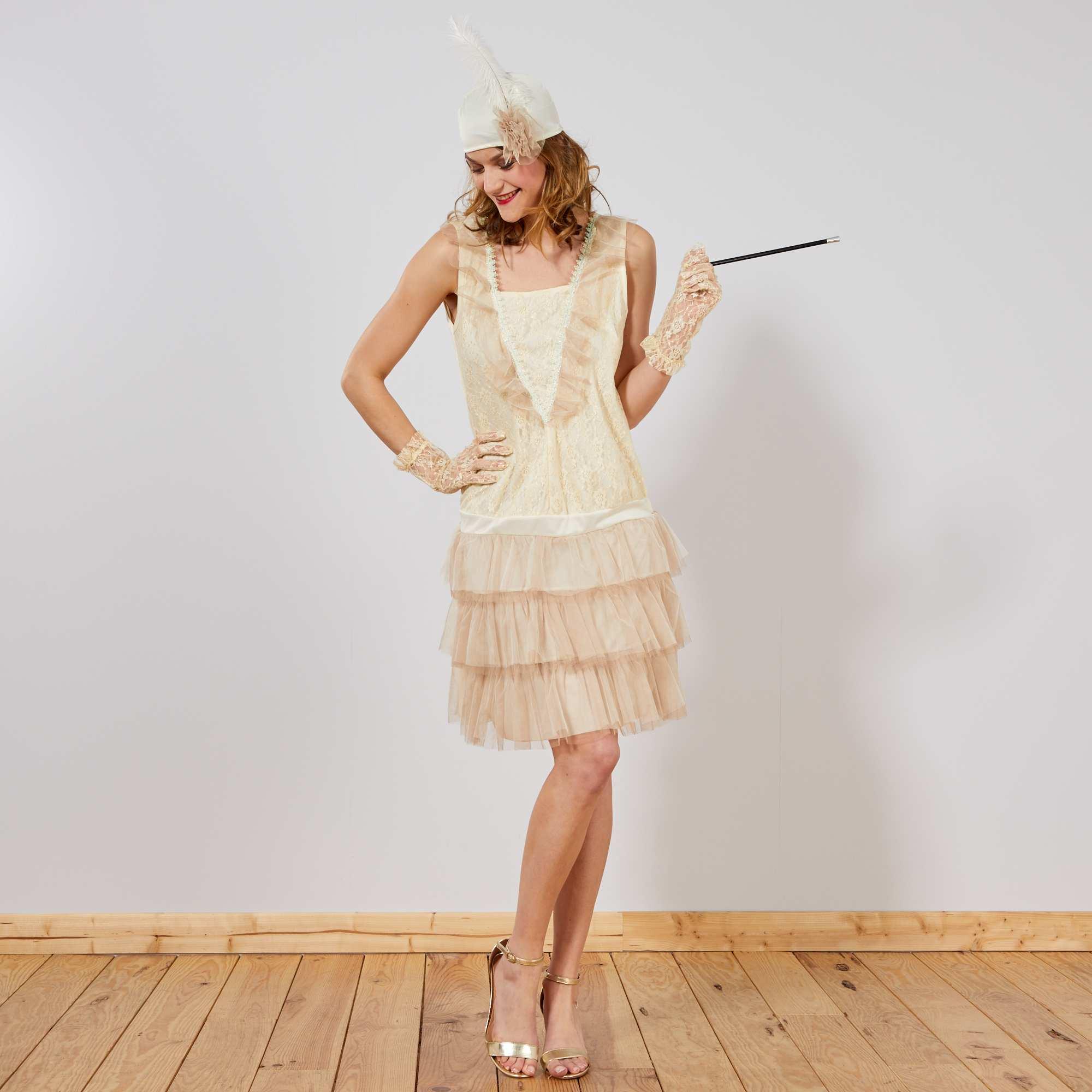 Couleur : beige, , ,, - Taille : S, XL, M/L,,Retrouvez l'ambiance des années 20 avec cette robe charleston des plus féminines. - Le