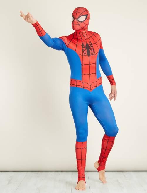 Déguisement 'Spider-man' seconde peau avec cagoule                             bleu/rouge Homme