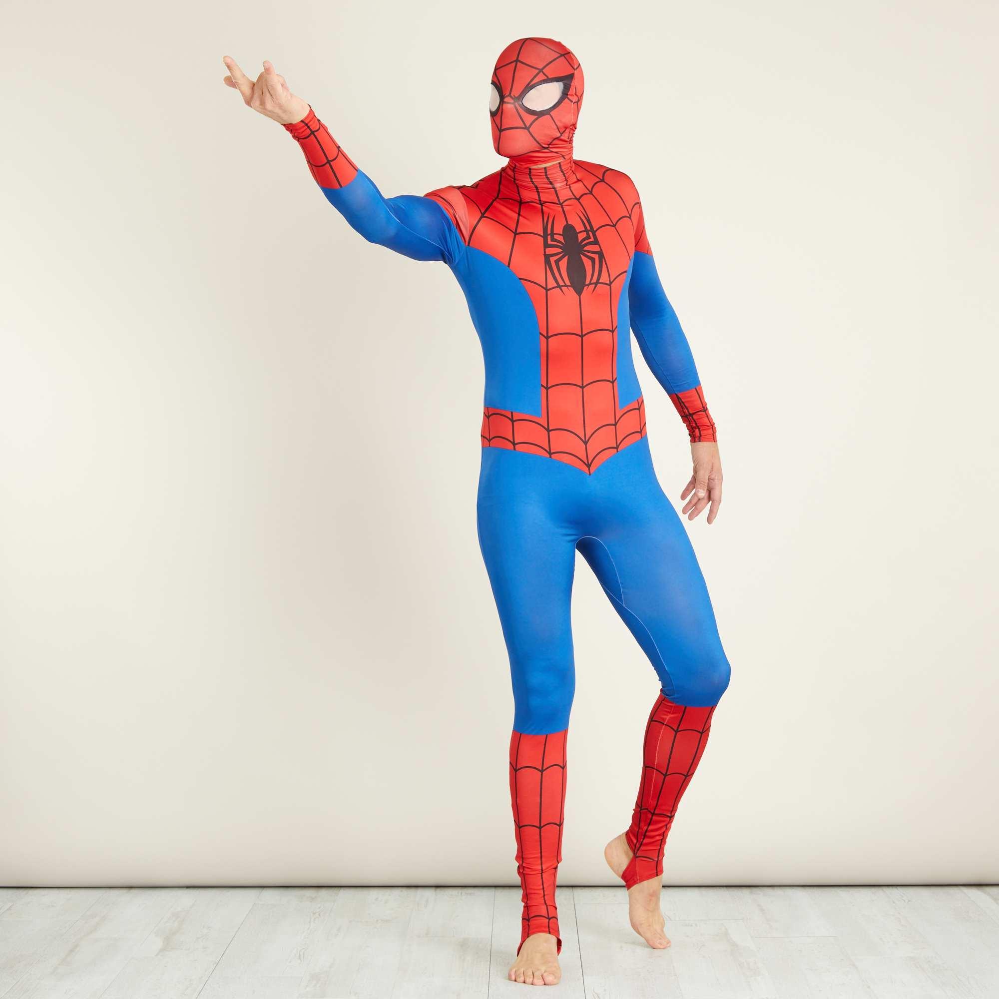 Déguisement  Spider-man  seconde peau avec cagoule Homme - bleu ... 390568692cd1