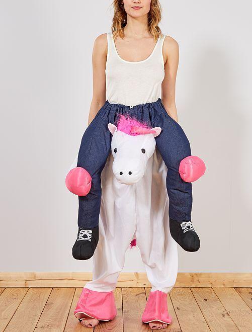 Déguisement trompe-l'œil cavalière sur licorne                             rose blanc Femme