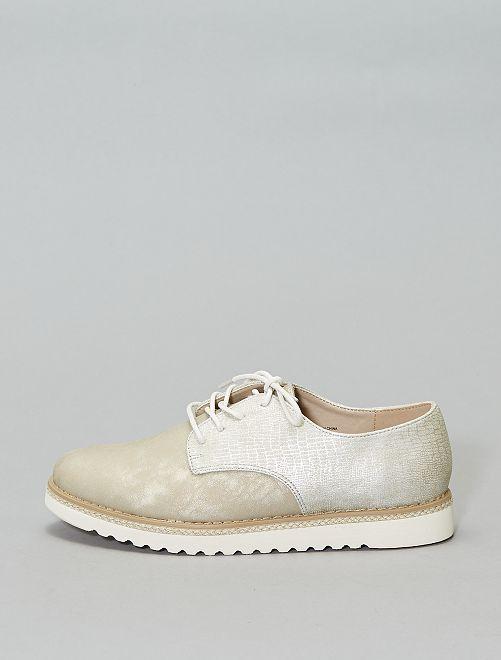 Derbies aspect tressé                                         blanc Chaussures