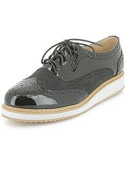 Chaussures femme - Derbies en simili plateforme - Kiabi