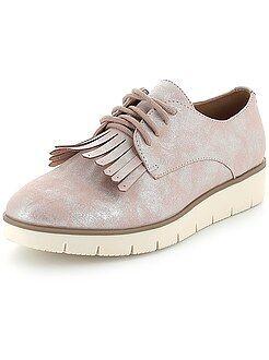 Chaussures compensées - Derbies irisés à plateforme et franges
