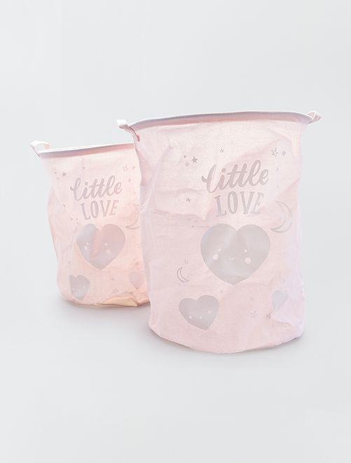 Double panier à linge 'Little Love'                                                     rose