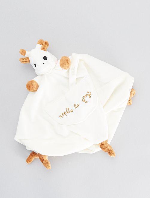 Doudou avec attache-sucette 'Sophie la Girafe'                             blanc cassé