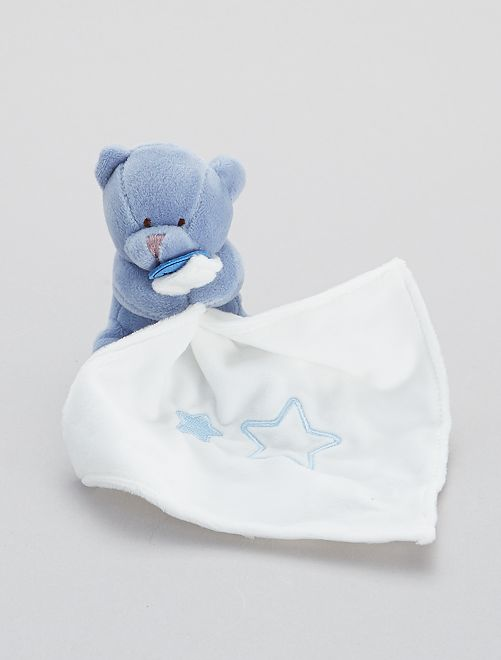 Doudou mouchoir avec ourson 'Babynat'                                                                 bleu