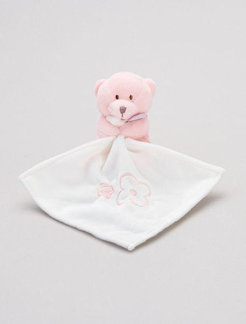 Doudou mouchoir avec ourson 'Babynat'                                                                 rose clair