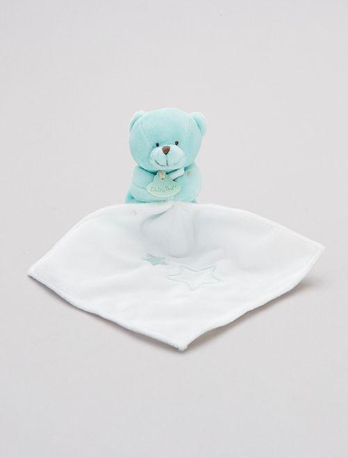 Doudou mouchoir avec ourson 'Babynat'                                                                 vert