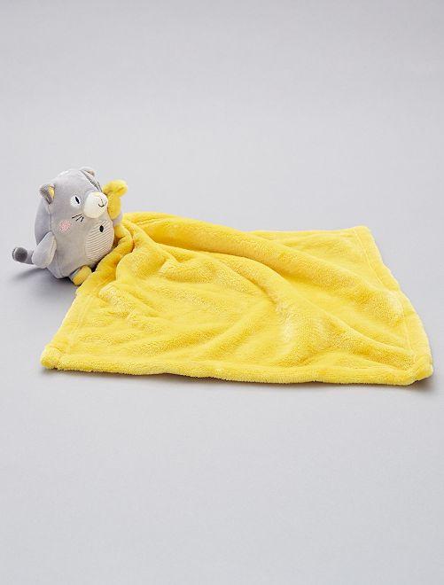 Doudou mouchoir 'chat'                                                                             gris/jaune
