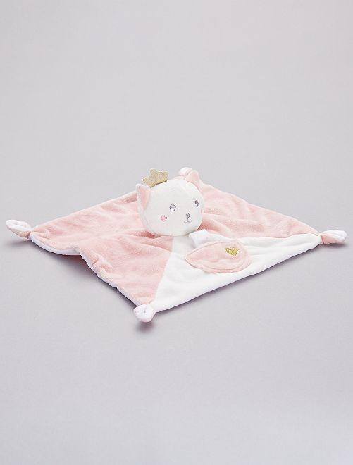 Doudou mouchoir 'chat'                             rose/blanc