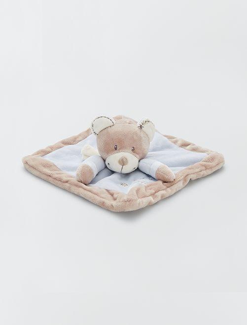 Doudou mouchoir en velours                                                                 bleu ours