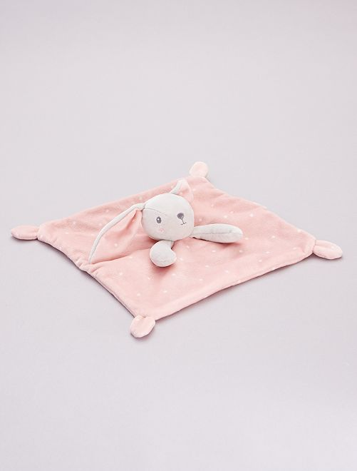 Doudou mouchoir en velours                                                     rose