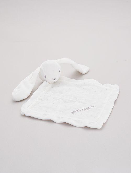 Doudou mouchoir 'lapin'                             blanc