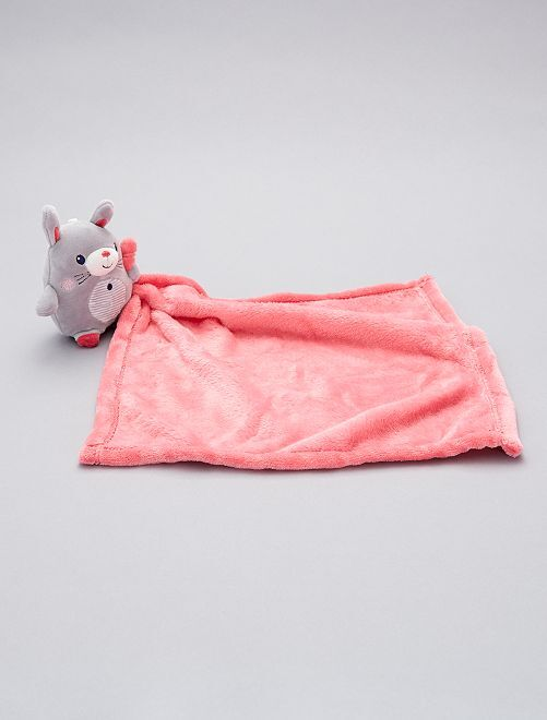 Doudou mouchoir 'lapin'                                                                                         gris/rose