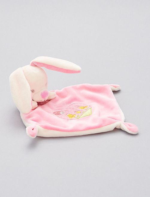 Doudou mouchoir 'lapin'                                         rose/écru