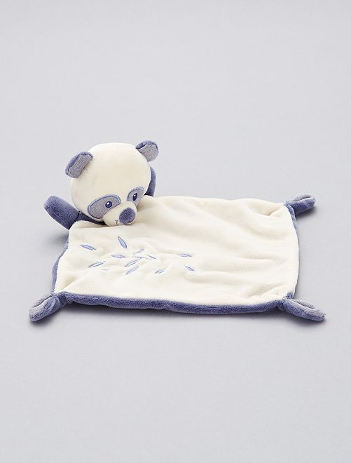 Doudou mouchoir 'ours'                             blanc/bleu