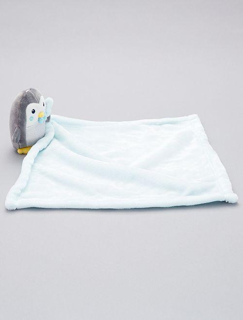 Doudou mouchoir 'pingouin'                                                                                         gris/bleu clair