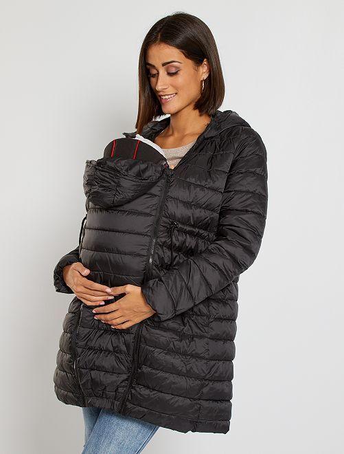 Doudoune à capuche de maternité 'kangourou'                             noir