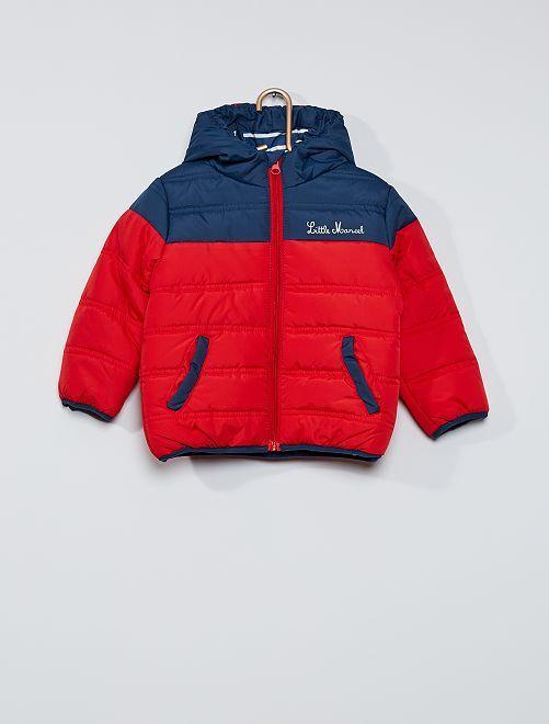 Doudoune à capuche 'Little Marcel'                             bleu/rouge