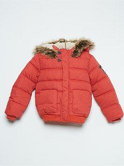 Garçon 3-12 ans Doudoune à capuche matelassée doublée façon sherpa